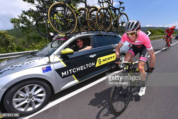 Simon Yates of Great Britain and Team Mitchelton-Scott Pink Leader Jersey / Matthew White of Australia Sports Director / Car / Sun Protection /...