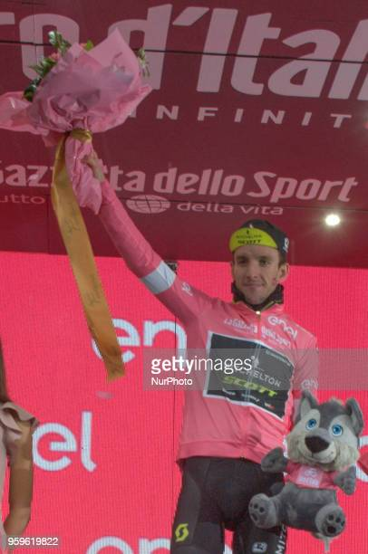 Simon Yates of Great Britain and Team MitcheltonScott Pink Leader Jersey / Celebration podium during the 101st Tour of Italy 2018 Stage 12 a 214km...