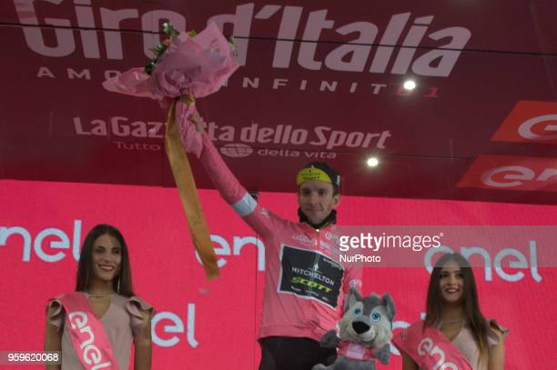 Simon Yates of Great Britain and Team MitcheltonScott Pink Leader Jersey / Celebration on podium during the 101st Tour of Italy 2018 Stage 12 a 214km...