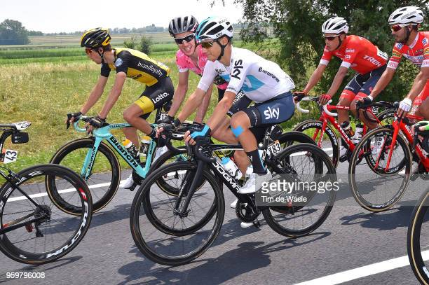 Simon Yates of Great Britain and Team Mitchelton-Scott Pink Leader Jersey / Kenny Elissonde of France and Team Sky / during the 101st Tour of Italy...