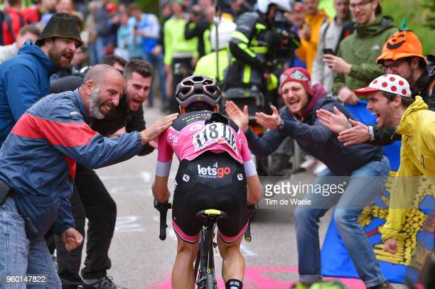 Simon Yates of Great Britain and Team MitcheltonScott Pink Leader Jersey / Fans / Public / during the 101st Tour of Italy 2018 Stage 14 a 186km stage...