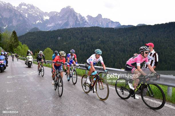 Simon Yates of Great Britain and Team Mitchelton-Scott Pink Leader Jersey / Miguel Angel Lopez of Colombia and Astana Pro Team White Best Young Rider...