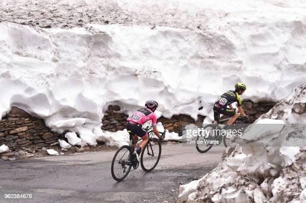 Simon Yates of Great Britain and Team Mitchelton-Scott Pink Leader Jersey / Mikel Nieve Ituralde of Spain and Team Mitchelton-Scott / Snow / Colle...