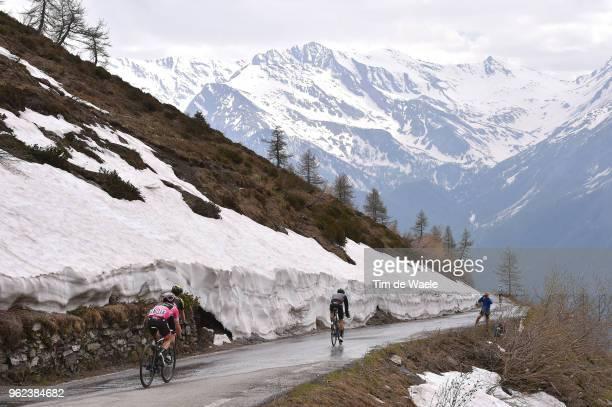 Simon Yates of Great Britain and Team Mitchelton-Scott Pink Leader Jersey / Mikel Nieve Ituralde of Spain and Team Mitchelton-Scott / Snow /...