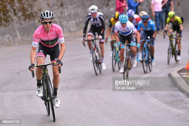 Simon Yates of Great Britain and Team Mitchelton-Scott Pink Leaders Jersey / Miguel Angel Lopez of Colombia and Astana Pro Team White Best Young...