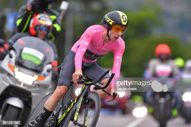Simon Yates of Great Britain and Team MitcheltonScott Pink Leaders Jersey / during the 101st Tour of Italy 2018 Stage 16 a 342km Individual Time...