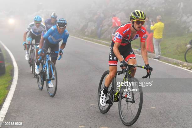 Simon Yates of Great Britain and Team MitcheltonScott Red Leader Jersey / Nairo Quintana of Colombia and Movistar Team / Angel Lopez of Colombia and...