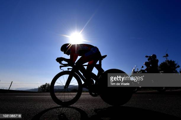 Simon Yates of Great Britain and Team MitcheltonScott Red Leader Jersey / Silhouette / during the 73rd Tour of Spain 2018 Stage 16 a 32km Individual...
