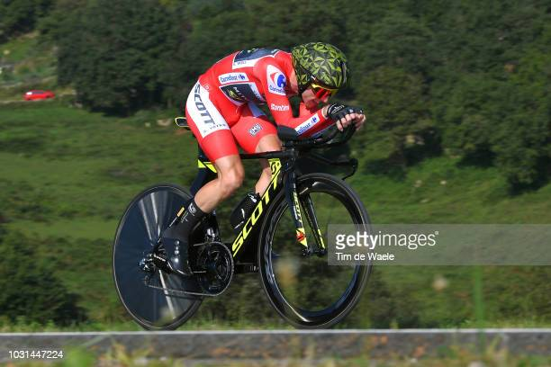 Simon Yates of Great Britain and Team MitcheltonScott Red Leader Jersey / during the 73rd Tour of Spain 2018 Stage 16 a 32km Individual Time Trial...