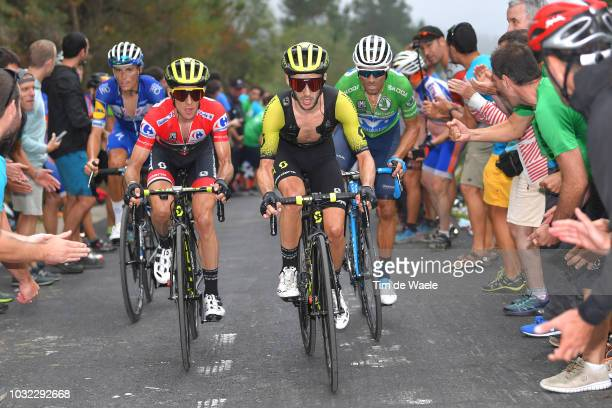 Simon Yates of Great Britain and Team MitcheltonScott Red Leader Jersey / Adam Yates of Great Britain and Team MitcheltonScott / Enric Mas of Spain...
