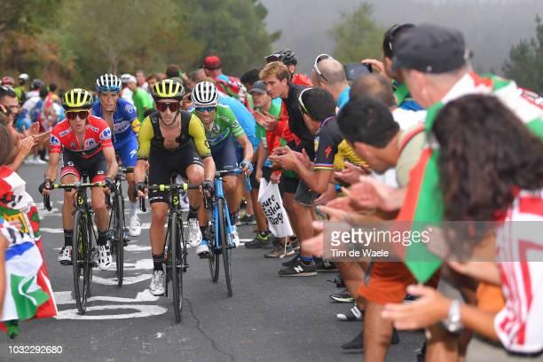 Simon Yates of Great Britain and Team Mitchelton-Scott Red Leader Jersey / Adam Yates of Great Britain and Team Mitchelton-Scott / Enric Mas of Spain...