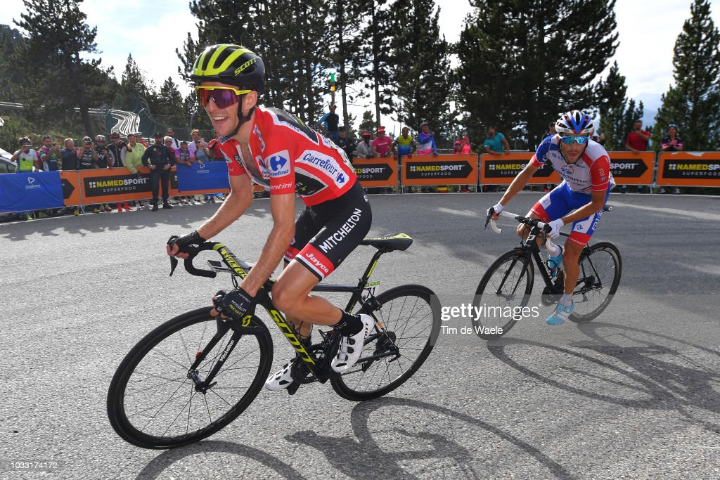 Simon Yates of Great Britain and Team Mitchelton-Scott Red Leader Jersey / Thibaut Pinot of France and Team Groupama FDJ / during the 73rd Tour of Spain 2018, Stage 19 a 154,4km stage from Lleida to Naturlandia - Coll De La Rabassa 2025m / La Vuelta / on September 14, 2018 in Naturlandia - Coll De La Rabassa, Andorra.