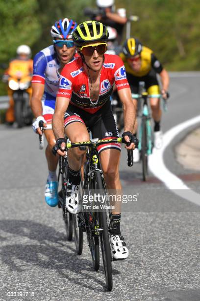 Simon Yates of Great Britain and Team Mitchelton-Scott Red Leader Jersey / Thibaut Pinot of France and Team Groupama FDJ / during the 73rd Tour of...