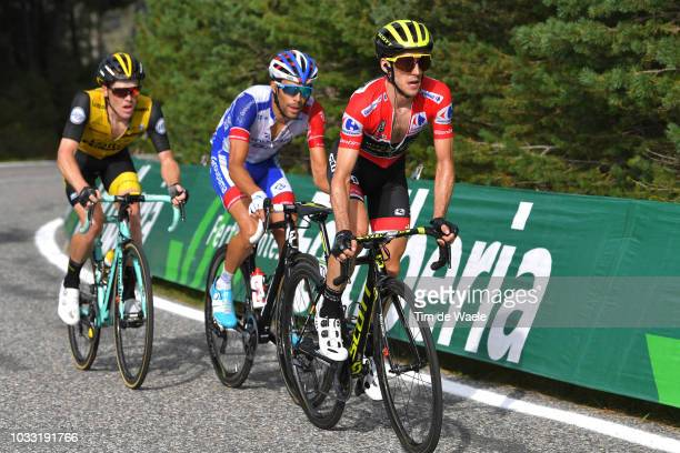 Simon Yates of Great Britain and Team MitcheltonScott Red Leader Jersey / Thibaut Pinot of France and Team Groupama FDJ / Steven Kruijswijk of The...
