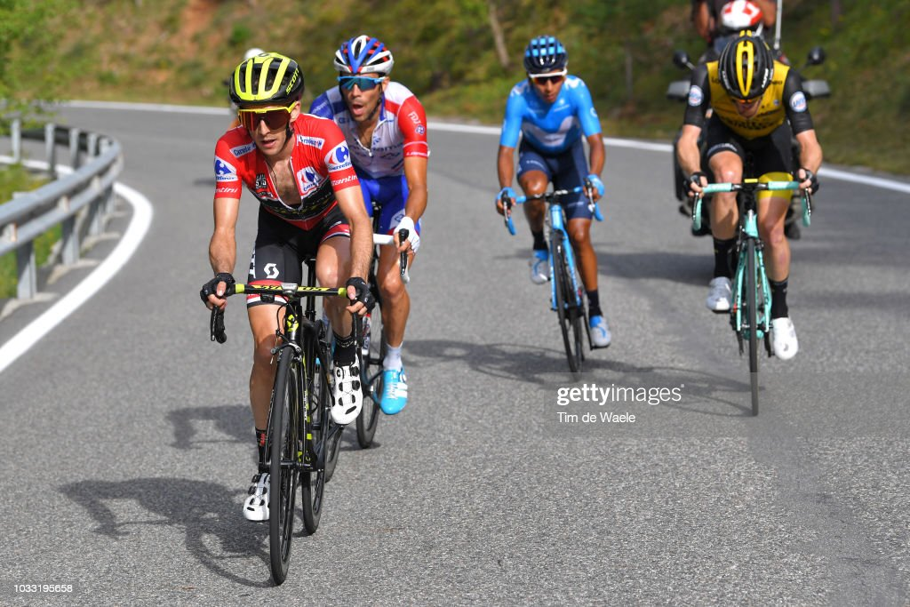 Simon Yates of Great Britain and Team Mitchelton-Scott Red Leader Jersey / Thibaut Pinot of France and Team Groupama FDJ / Steven Kruijswijk of The Netherlands and Team LottoNL - Jumbo / Nairo Quintana of Colombia and Movistar Team / during the 73rd Tour of Spain 2018, Stage 19 a 154,4km stage from Lleida to Naturlandia - Coll De La Rabassa 2025m / La Vuelta / on September 14, 2018 in Naturlandia - Coll De La Rabassa, Andorra.