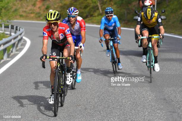 Simon Yates of Great Britain and Team Mitchelton-Scott Red Leader Jersey / Thibaut Pinot of France and Team Groupama FDJ / Steven Kruijswijk of The...