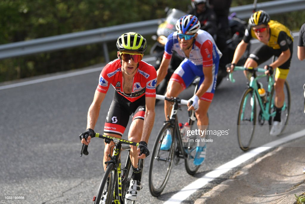 Simon Yates of Great Britain and Team Mitchelton-Scott Red Leader Jersey / Thibaut Pinot of France and Team Groupama FDJ / Steven Kruijswijk of The Netherlands and Team LottoNL - Jumbo / during the 73rd Tour of Spain 2018, Stage 19 a 154,4km stage from Lleida to Naturlandia - Coll De La Rabassa 2025m / La Vuelta / on September 14, 2018 in Naturlandia - Coll De La Rabassa, Andorra.