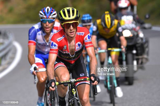 Simon Yates of Great Britain and Team MitcheltonScott Red Leaders Jersey / Thibaut Pinot of France and Team Groupama FDJ / during the 73rd Tour of...
