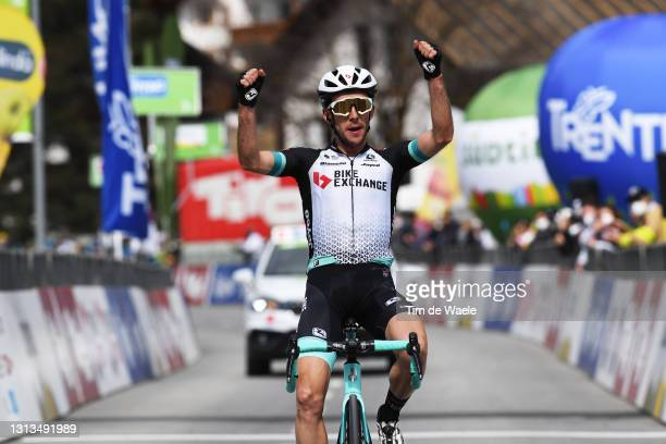 Simon Yates of United Kingdom and Team BikeExchange celebrates at arrival during the 44th Tour of the Alps 2021, Stage 2 a 121,5km stage from...