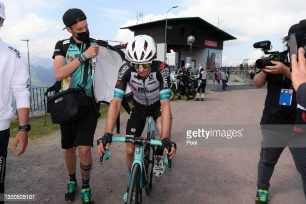 Simon Yates of United Kingdom and Team BikeExchange celebrates at arrival during the 104th Giro d'Italia 2021, Stage 19 a 166km stage from...