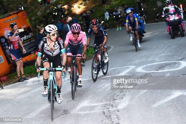 Simon Yates of United Kingdom and Team BikeExchange & Egan Arley Bernal Gomez of Colombia Pink Leader Jersey, Daniel Felipe Martinez Poveda of...