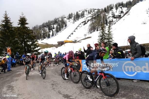 Simon Yates of United Kingdom and Team BikeExchange, Emanuel Buchmann of Germany and Team Bora - Hansgrohe, Egan Arley Bernal Gomez of Colombia Pink...