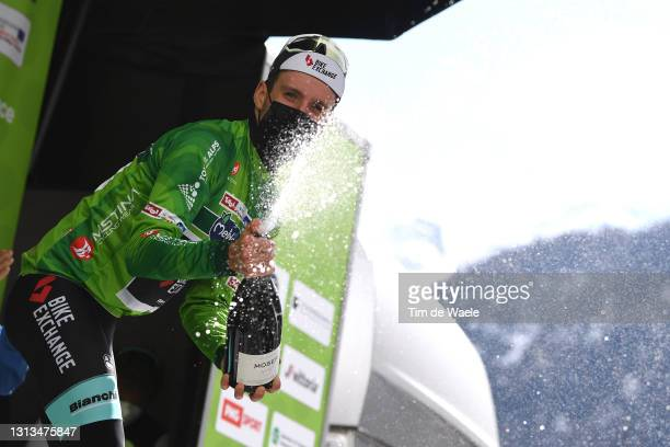 Simon Yates of United Kingdom and Team BikeExchange Green Leader Jersey celebrates at podium during the 44th Tour of the Alps 2021, Stage 2 a 121,5km...