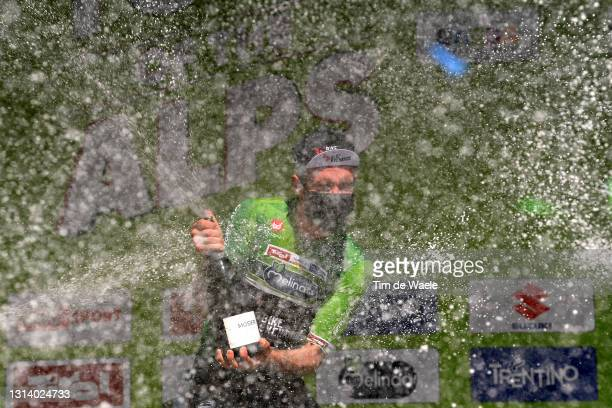 Simon Yates of United Kingdom and Team BikeExchange Green Leader Jersey celebrates at final podium during the 44th Tour of the Alps 2021, Stage 5 a...