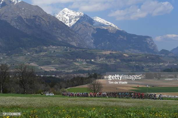 Simon Yates of United Kingdom and Team BikeExchange Green Leader Jersey & The Peloton passing through Sella Giudicarie during the 44th Tour of the...