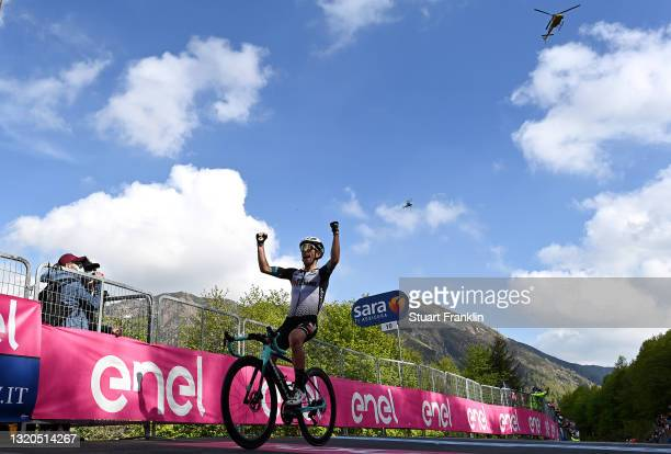 Simon Yates of United Kingdom and Team BikeExchange stage winner celebrates at arrival during the 104th Giro d'Italia 2021, Stage 19 a 166km stage...