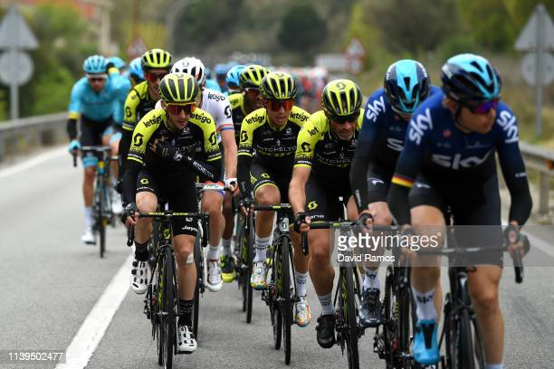 Simon Yates of United Kingdom and Team Mitchelton - Scott / Daryl Impey of South Africa and Team Mitchelton - Scott / Michael Albasini of Switzerland...