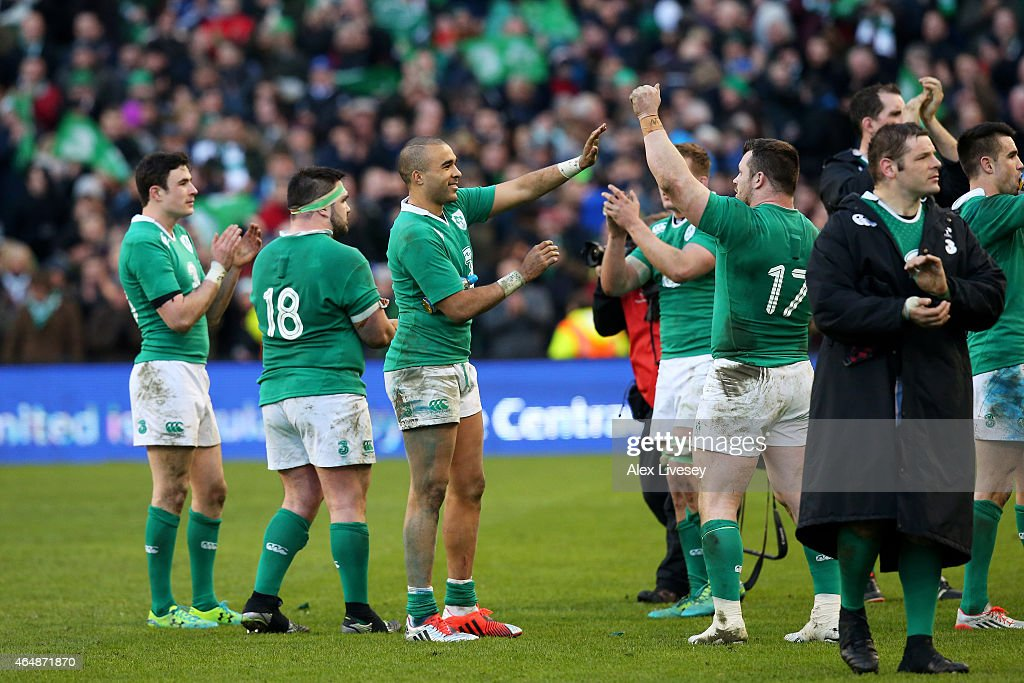 Simon Zebo of Ireland and Cian Healy of Ireland celebrate their team's 19-9 victory during the RBS Six Nations match between Ireland and England at the Aviva Stadium on March 1, 2015 in Dublin, Ireland.
