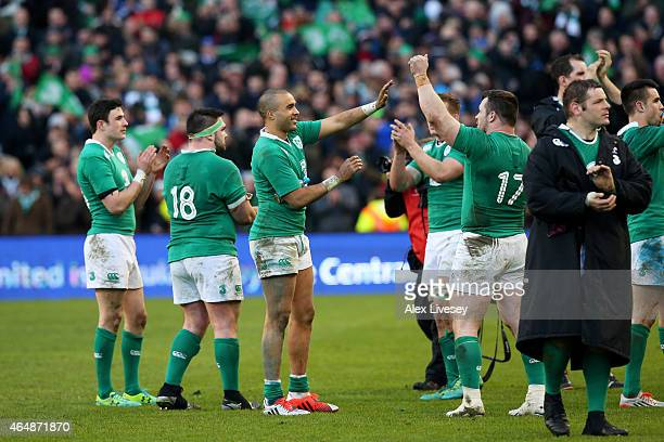 Simon Zebo of Ireland and Cian Healy of Ireland celebrate their team's 199 victory during the RBS Six Nations match between Ireland and England at...