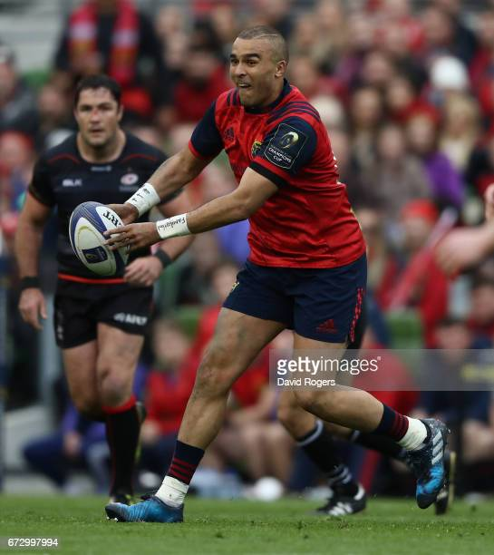 Simon Zebo of Munster passes the ball during the European Rugby Champions Cup semi final match between Munster and Saracens at the Aviva Stadium on...