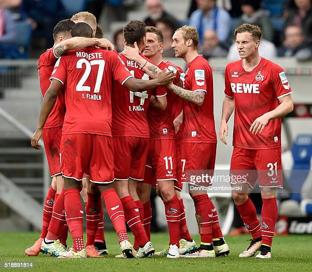 Simon Zoller of 1 FC Koeln celebrates with team mates as he scores the first goal during the Bundesliga match between 1899 Hoffenheim and 1 FC Koeln...