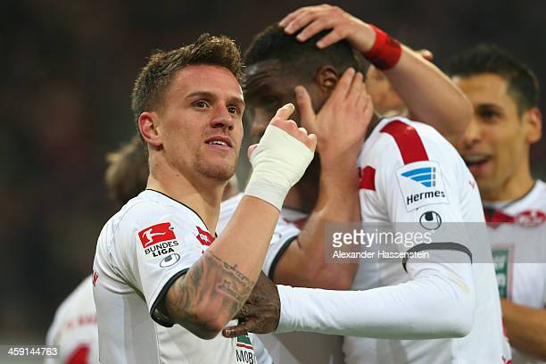 Simon Zoller of Kaiserslautern celebrates scoring his second team goal with his team mates during the Second Bundesliga match between FC Ingolstadt...