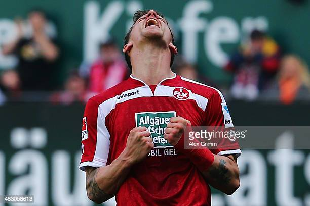 Simon Zoller of Kaiserslautern reacts during the Second Bundesliga match between 1 FC Kaiserslautern and VfL Bochum at FritzWalterStadion on April 6...
