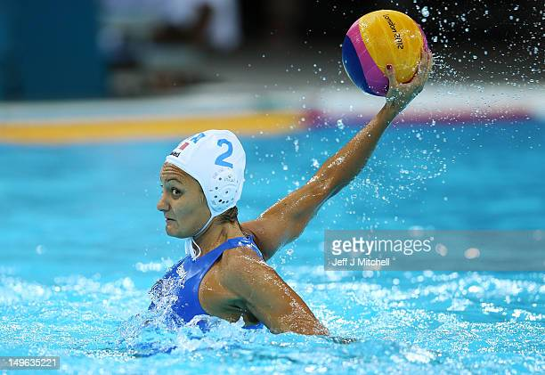 Simona Abbate of Italy passes the ball in the Women's Preliminary Round match between Italy and Russia on Day 5 of the London 2012 Olympics at Water...