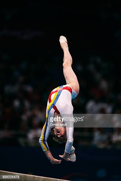 Simona Amanar from Romania competes on the balance beam at the 2000 Olympics