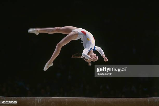 Simona Amanar from Romania during her routine on beam