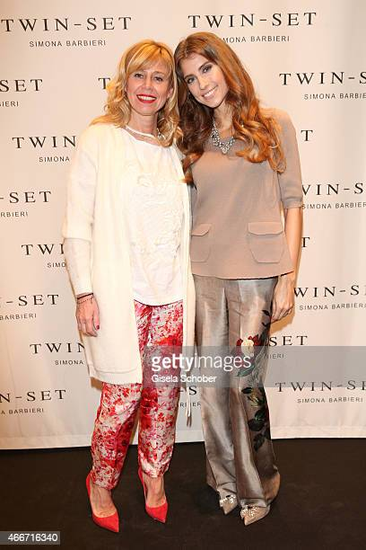 Simona Barbieri and Cathy Fischer pose during the TWINSET Simona Barbieri FlagshipStore Opening Event on March 18 2015 in Munich Germany