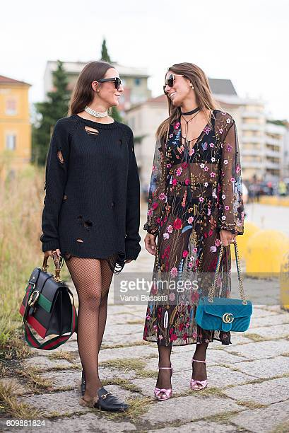 Simona Carlucci and Annacarla dell'Avo pose before the Gucci show during Milan Fashion Week Spring/Summer 2017 on September 21 2016 in Milan Italy