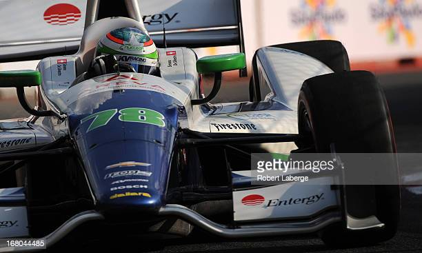 Simona de Silverstro of Switzerland driver of the Nuclear Entergy Areva KVRT Dallara Chevrolet during qualifying for the IndyCar Series Sao Paulo...