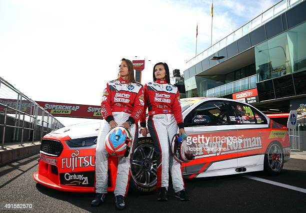Simona De Silvestro and Renee Gracie drivers of Harvey Norman Supergirls Falcon pose for a portrait session ahead of the Bathurst 1000 which is race...