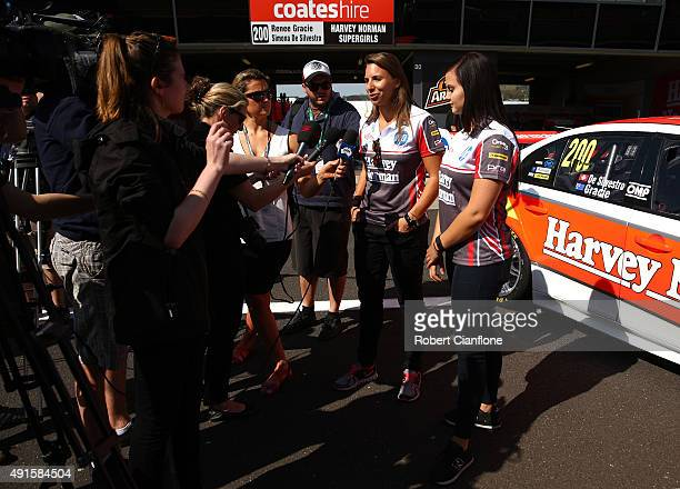 Simona De Silvestro and Renee Gracie drivers of Harvey Norman Supergirls Falcon speak to the media ahead of the Bathurst 1000 which is race 25 of the...