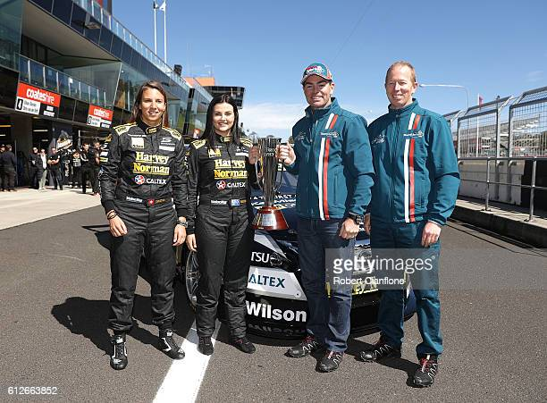 Simona De Silvestro and Renee Gracie of the Harvey Norman Supergirls Team and Craig Lowndes and Steven Richards of Triple Eight Racing pose with the...