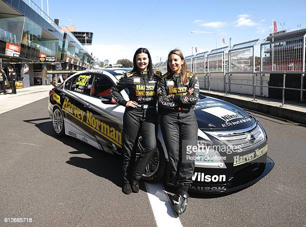 Simona De Silvestro and Renee Gracie of the Harvey Norman Supergirls Team pose during previews ahead of the Bathurst 1000 which is race 21 of the...