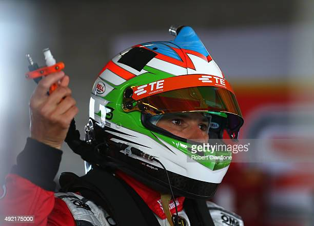 Simona De Silvestro driver of Harvey Norman Supergirls Falcon looks on during the warm up session for the Bathurst 1000 which is race 25 of the V8...