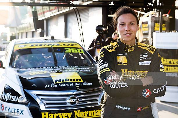 Simona de Silvestro driver of the Harvey Norman Super Girls Nissan Altima poses for a photo prior to practice for the Bathurst 1000 which is race 21...