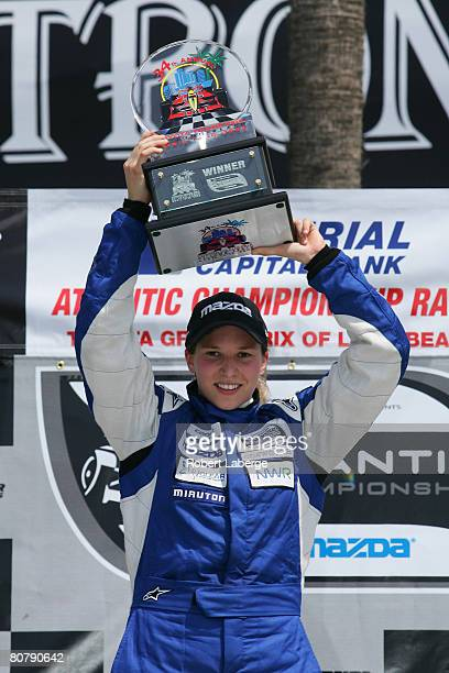 Simona De Silvestro of Switzerland driver of the Newman Wachs Racing celebrates in the victory circle after winning the Atlantic Championship...